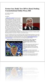 Former Sen. Dodd, Now MPAA Head, Pushing Unconstitutional Online Piracy Bill